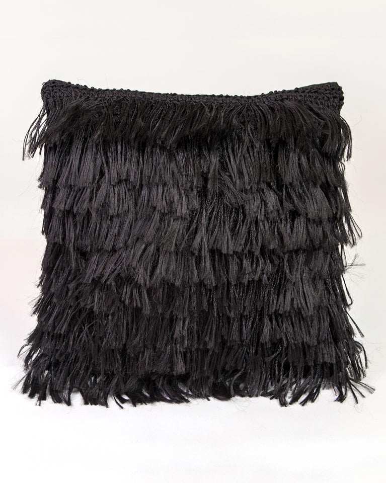 Handwoven plant fiber black fringed pillow