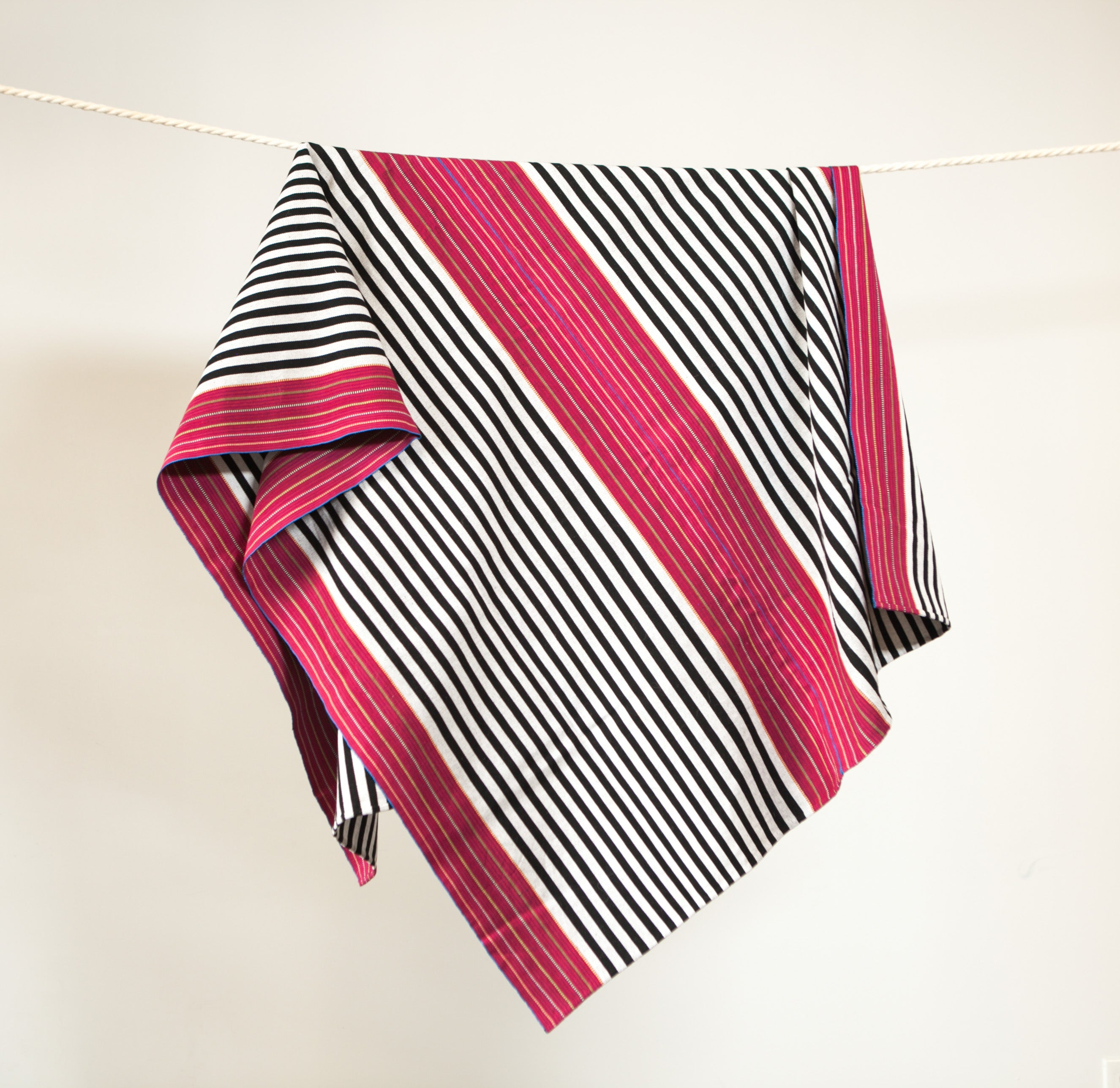 Handwoven cotton throw black and white B&W and red stripes