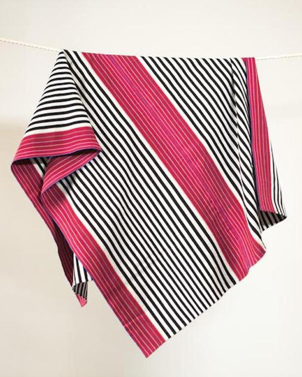 SanCri Cotton Throw - Black Stripe w/ Red
