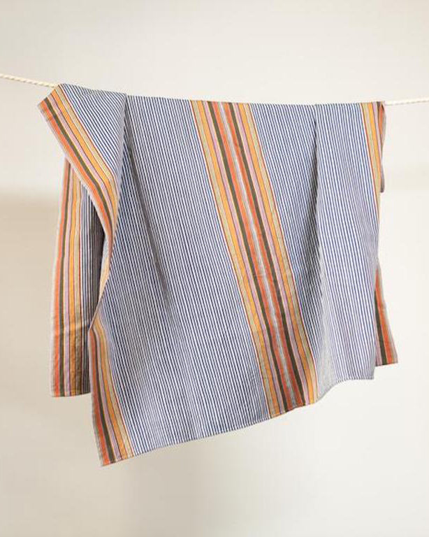 SanCri Cotton Throw - Blue Stripe