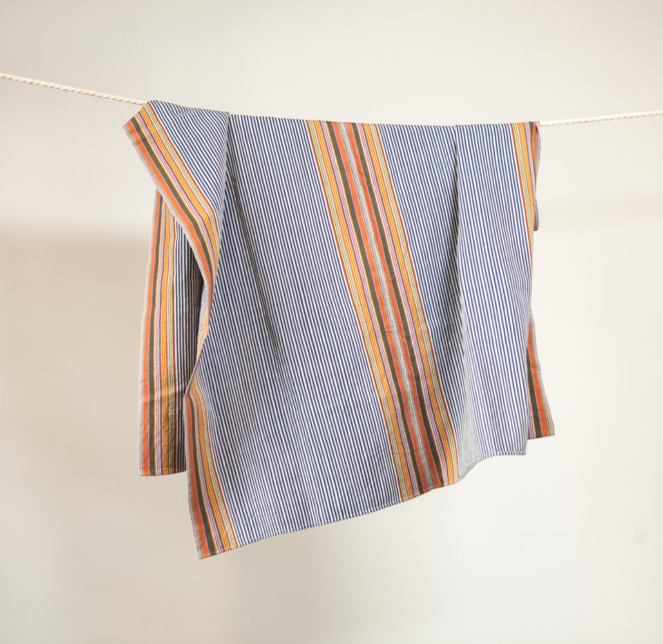 Handwoven cotton throw blue and orange stripes