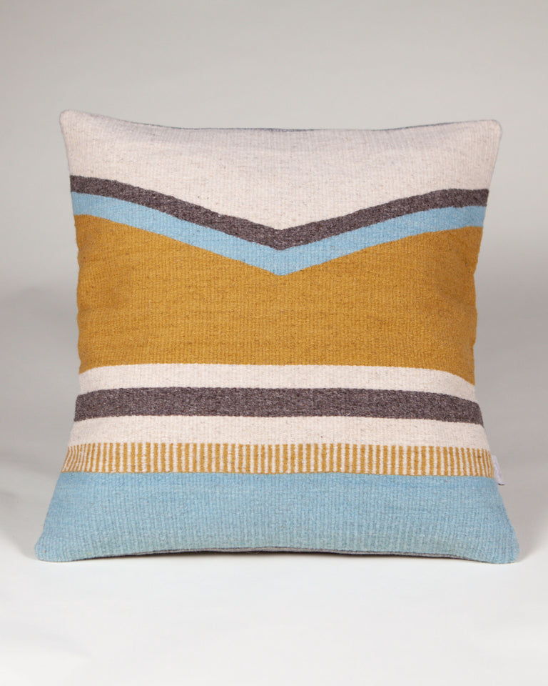 Handwoven wool pillow grey yellow blue geometric design