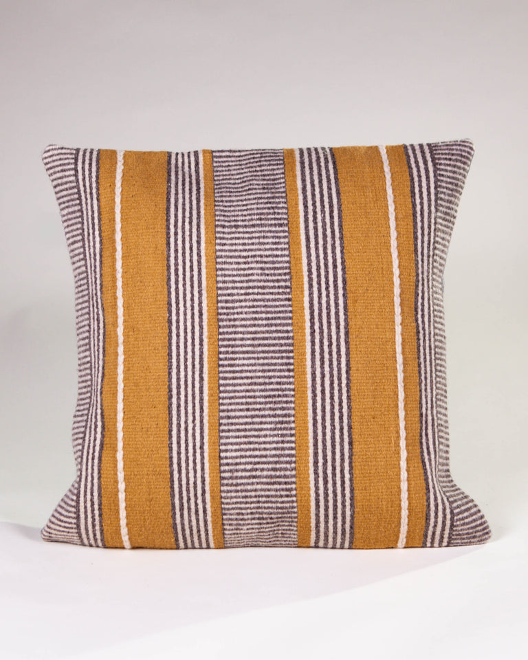 Handwoven wool pillow grey and yellow