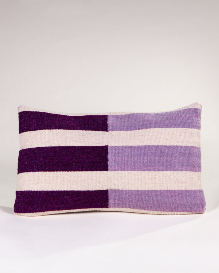 Handwoven wool pillow purple stripes