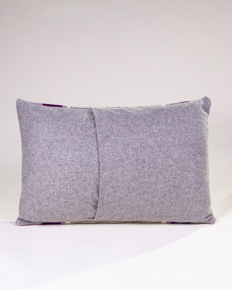 Handwoven wool pillow purple and grey
