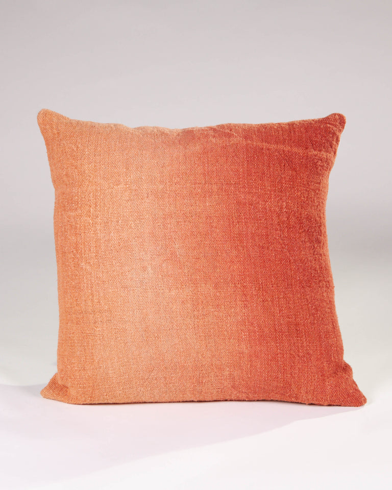 Hand-painted vintage linen pillow orange copper rust
