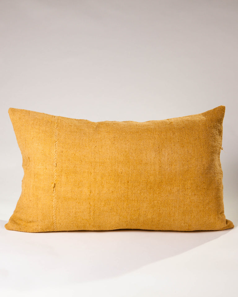 Hand-painted vintage linen pillow yellow