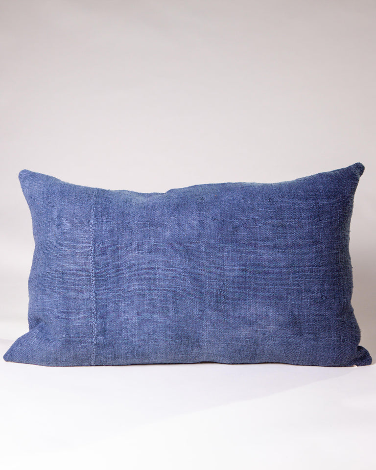 Hand-painted vintage linen pillow blue