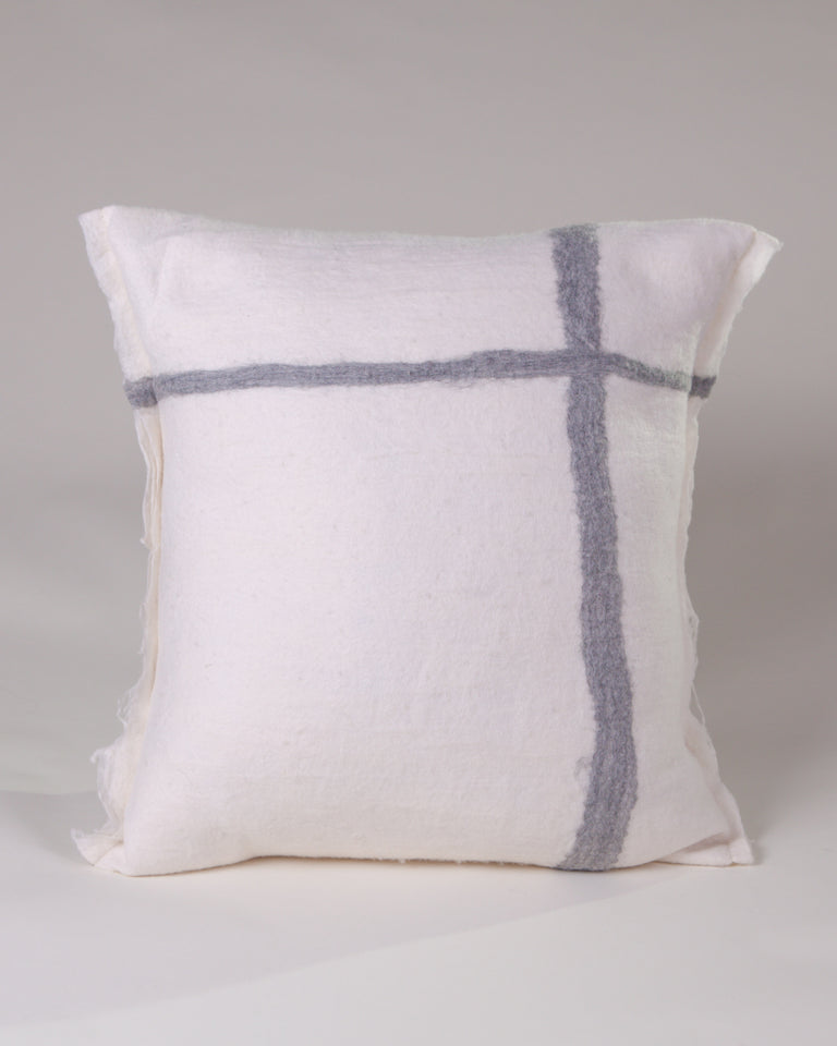 Hand-felted silk and wool grey and white pillow