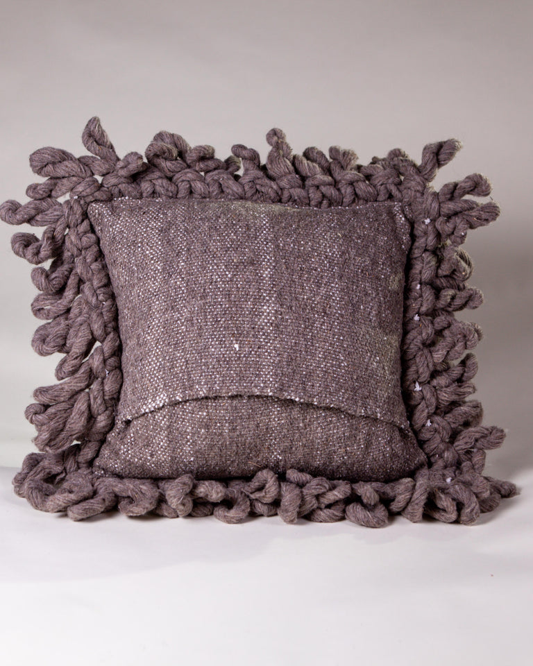 Handwoven wool pillow grey with knots