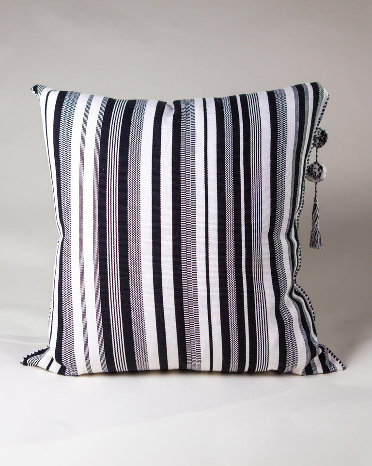 Handwoven cotton pillow with tassel black and white B&W