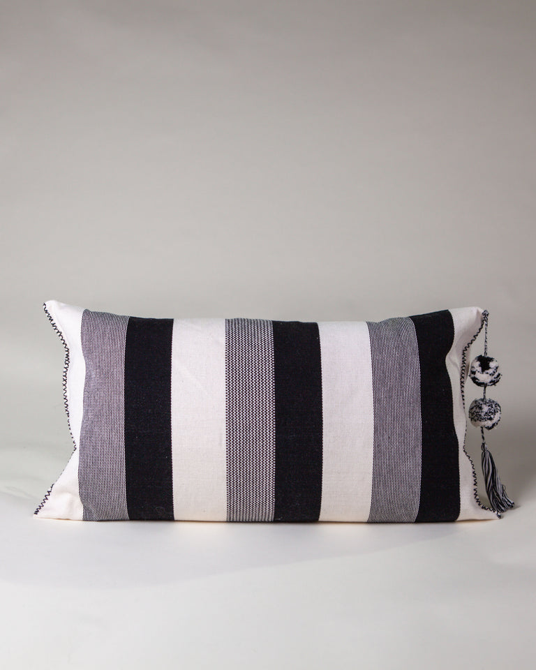 Handwoven cotton pillow with tassels black and white B&W