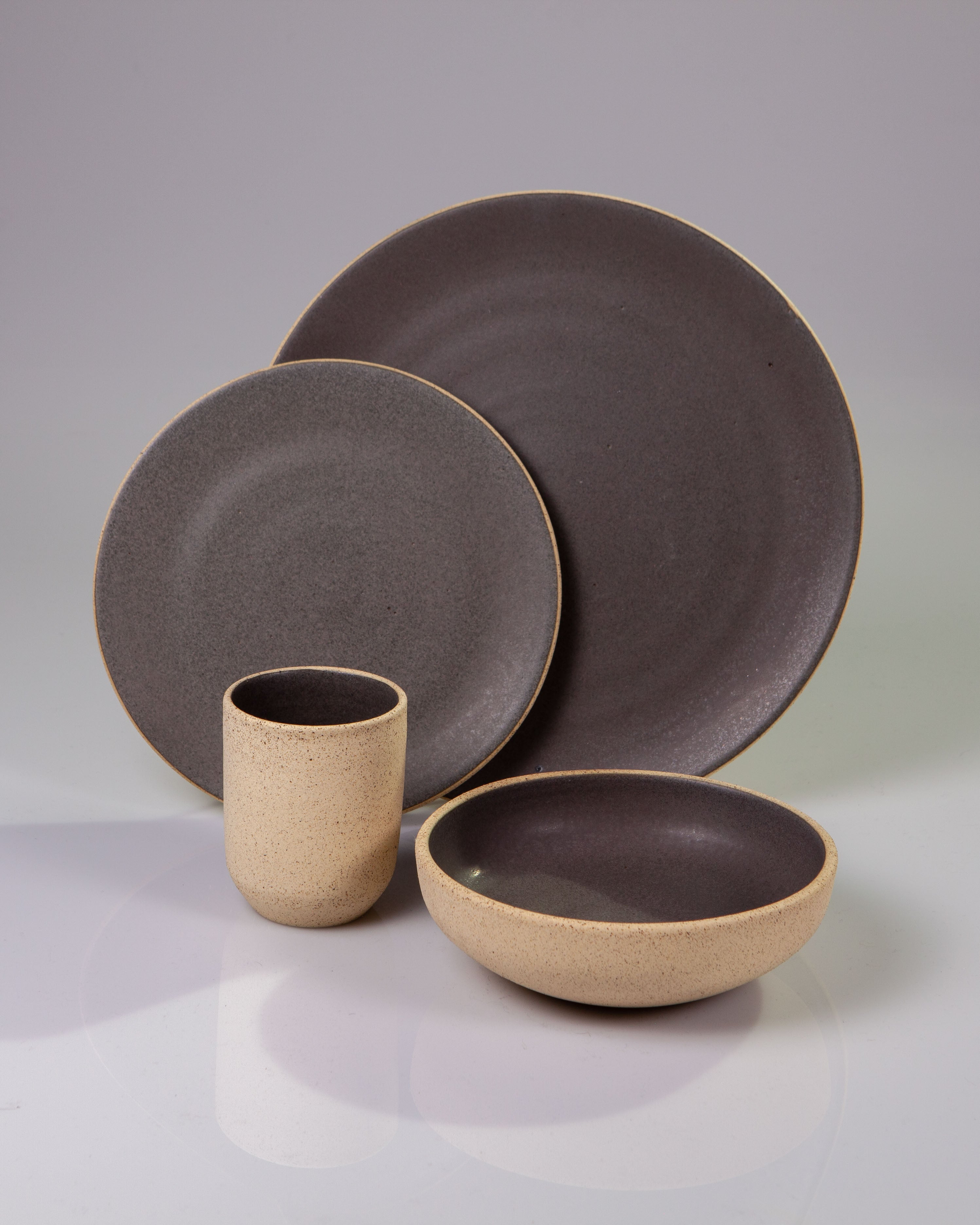 Handmade ceramic place setting plates cup bowl grey organic texture