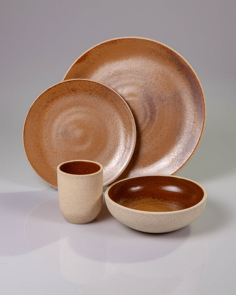 Handmade ceramic place setting plates cup bowl ochre brown organic texture