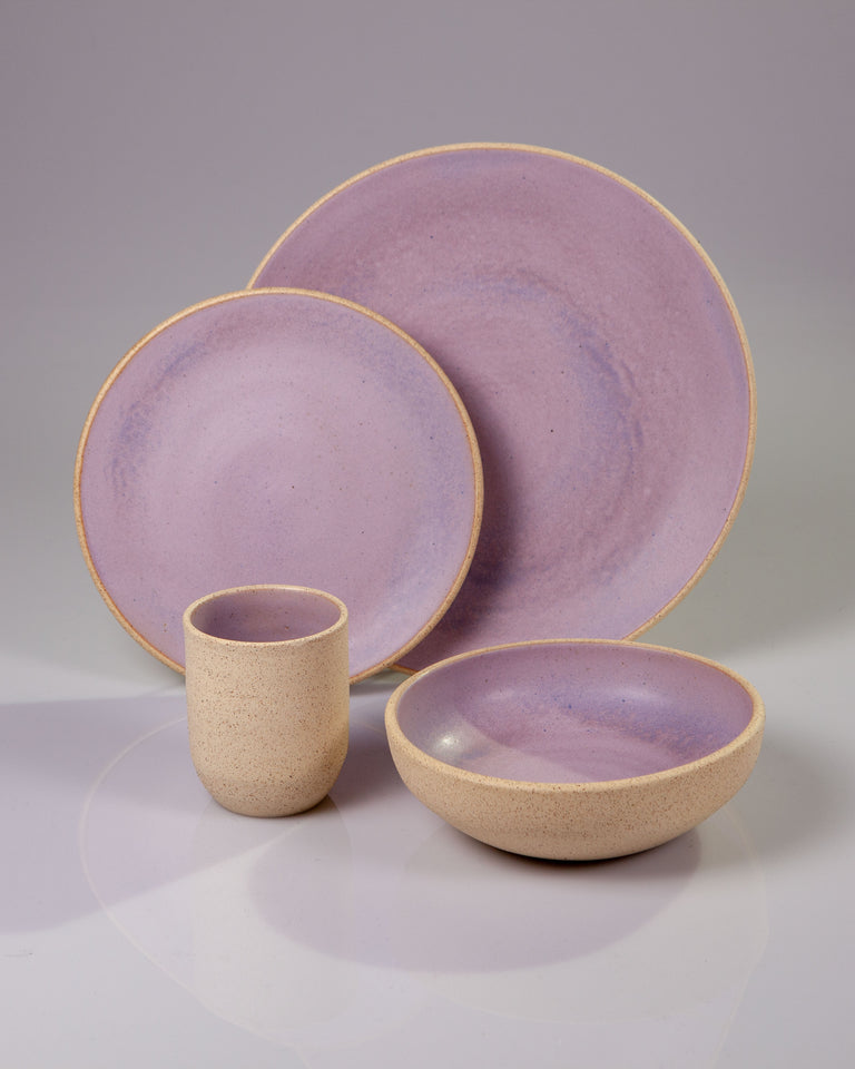 Handmade ceramic place setting plates cup bowl lavender purple organic texture