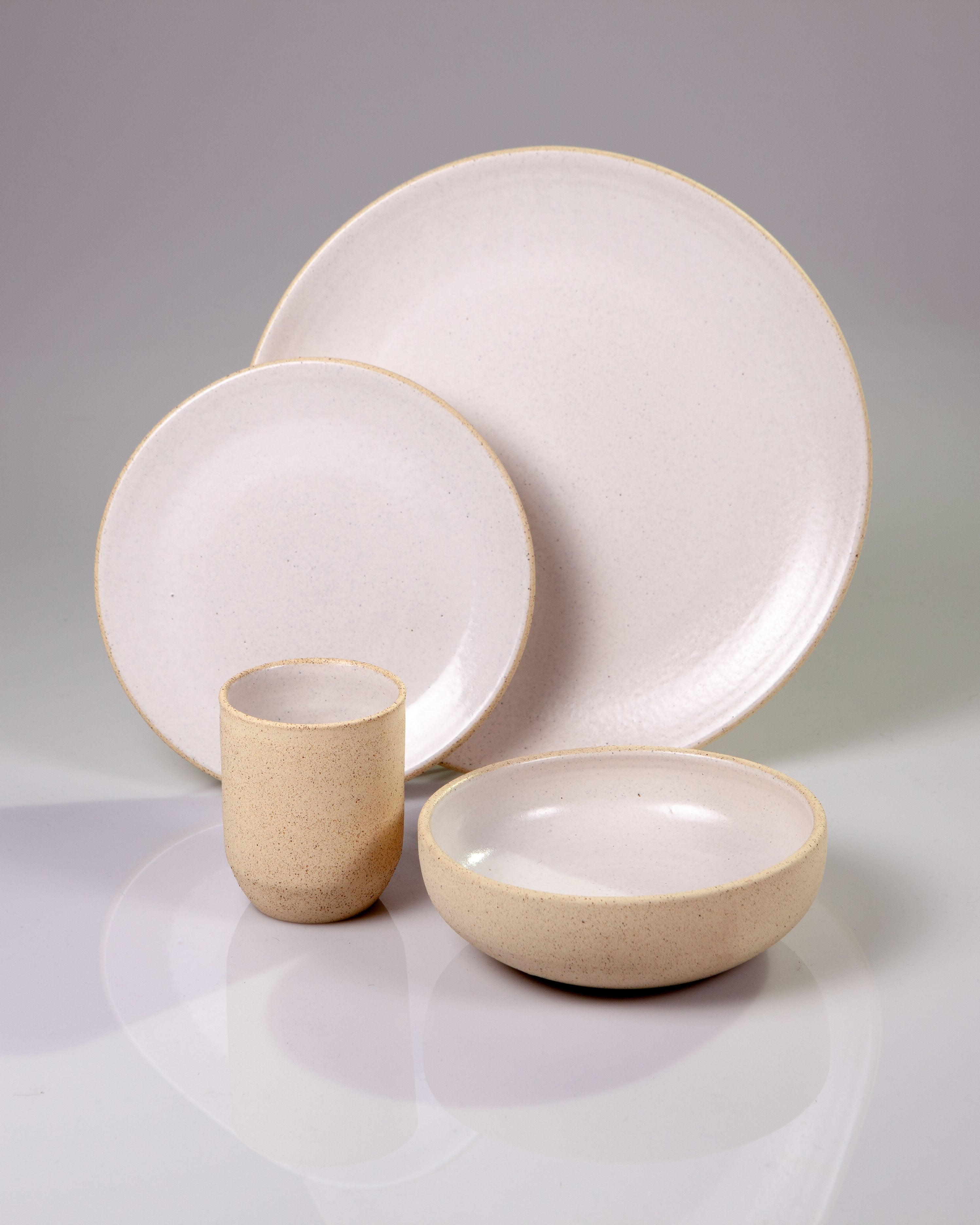 Handmade ceramic place setting plates cup bowl ivory white organic texture