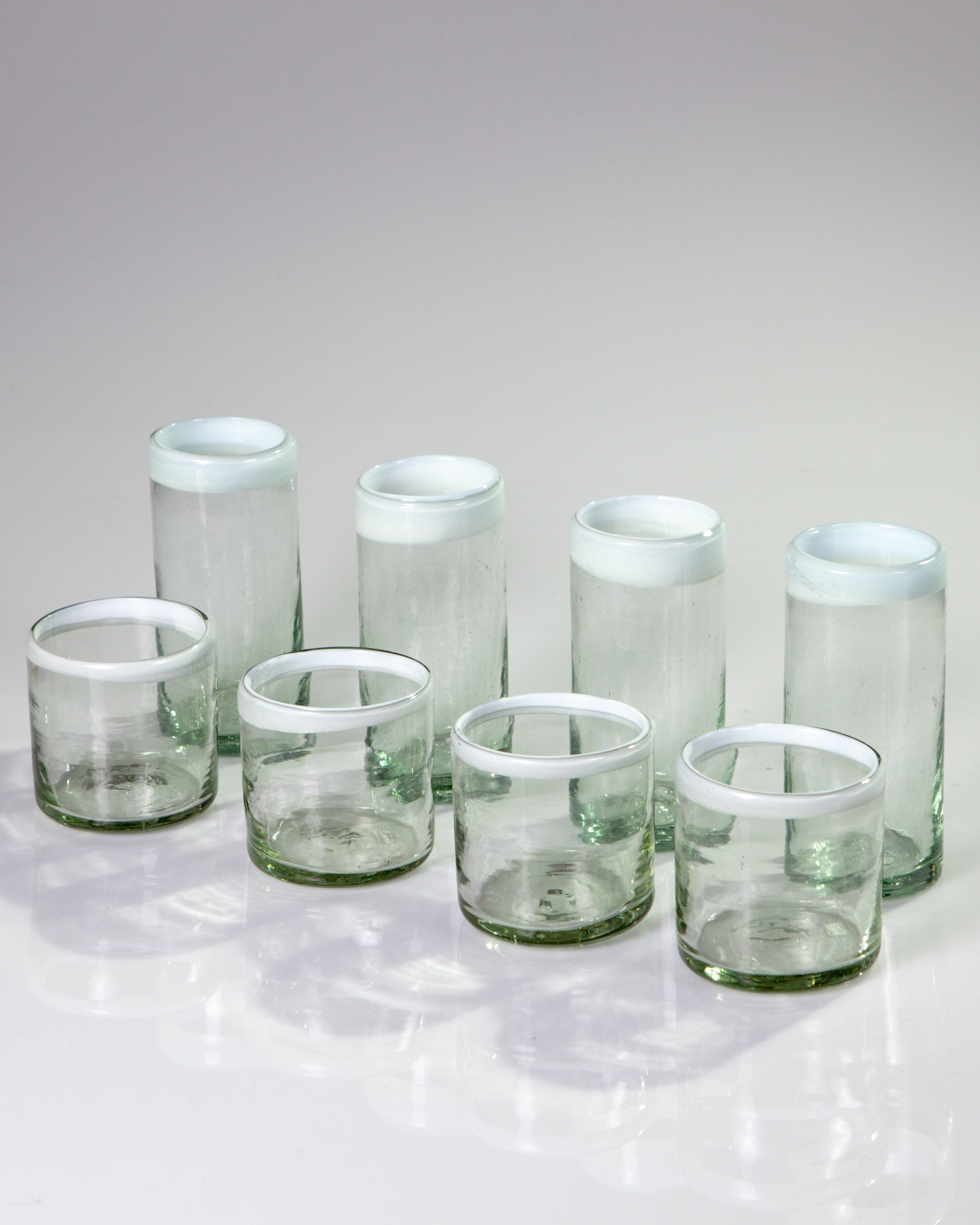 White Edge Blown Glass Tall Tumblers, set of 4