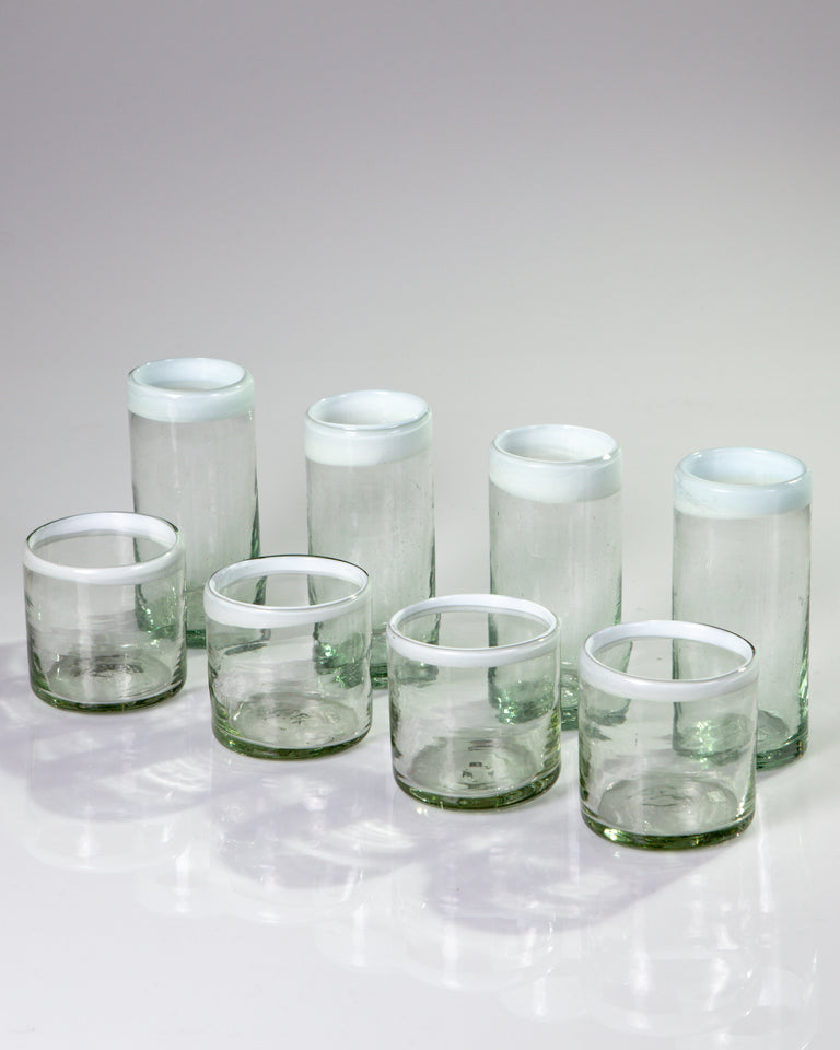 Blown glass tumblers with white edge