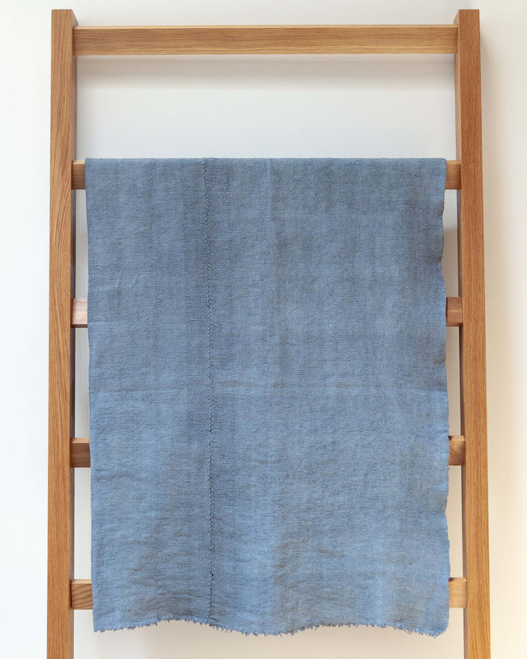 Hand-painted vintage linen throw blue