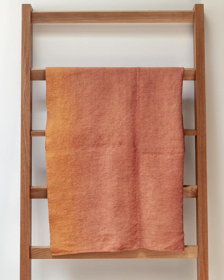 Hand-painted vintage linen throw orange copper rust