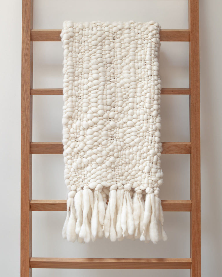 Handwoven baby merino wool blanket natural thick weave