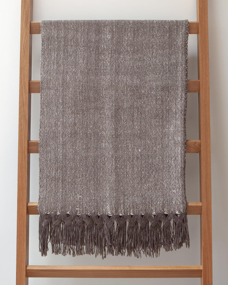 Handwoven llama wool and silk blanket with fringe