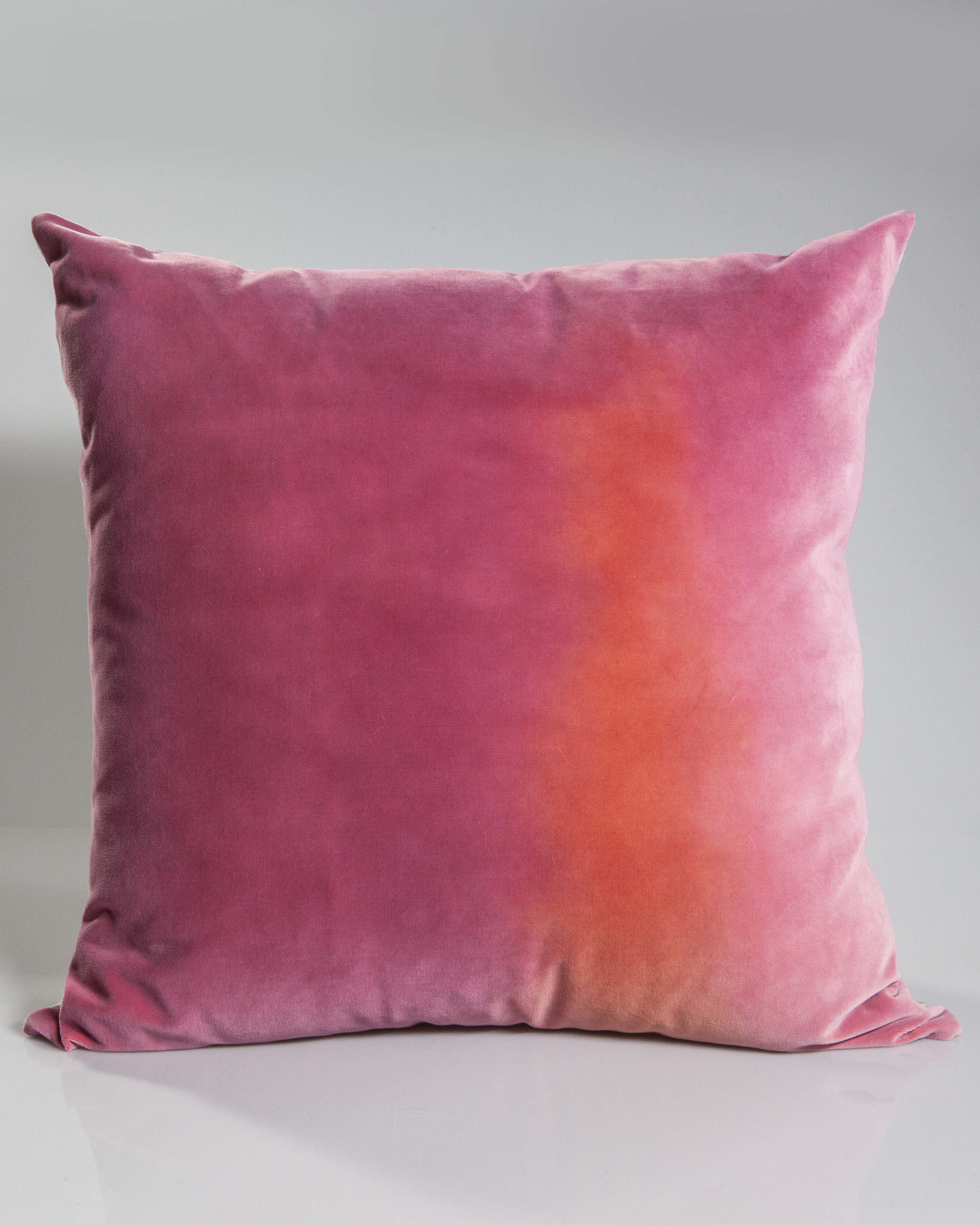 Hand-Painted Velvet Pillow - Pinks