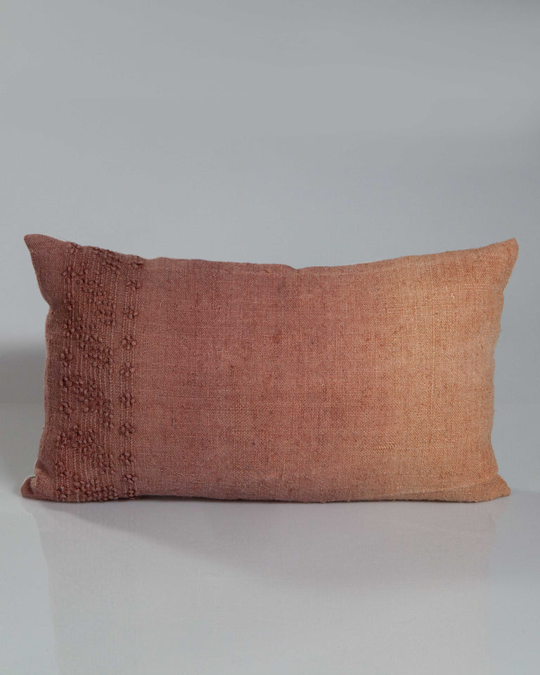 Hand-Painted Vintage Linen Pillow - Blush/Tans