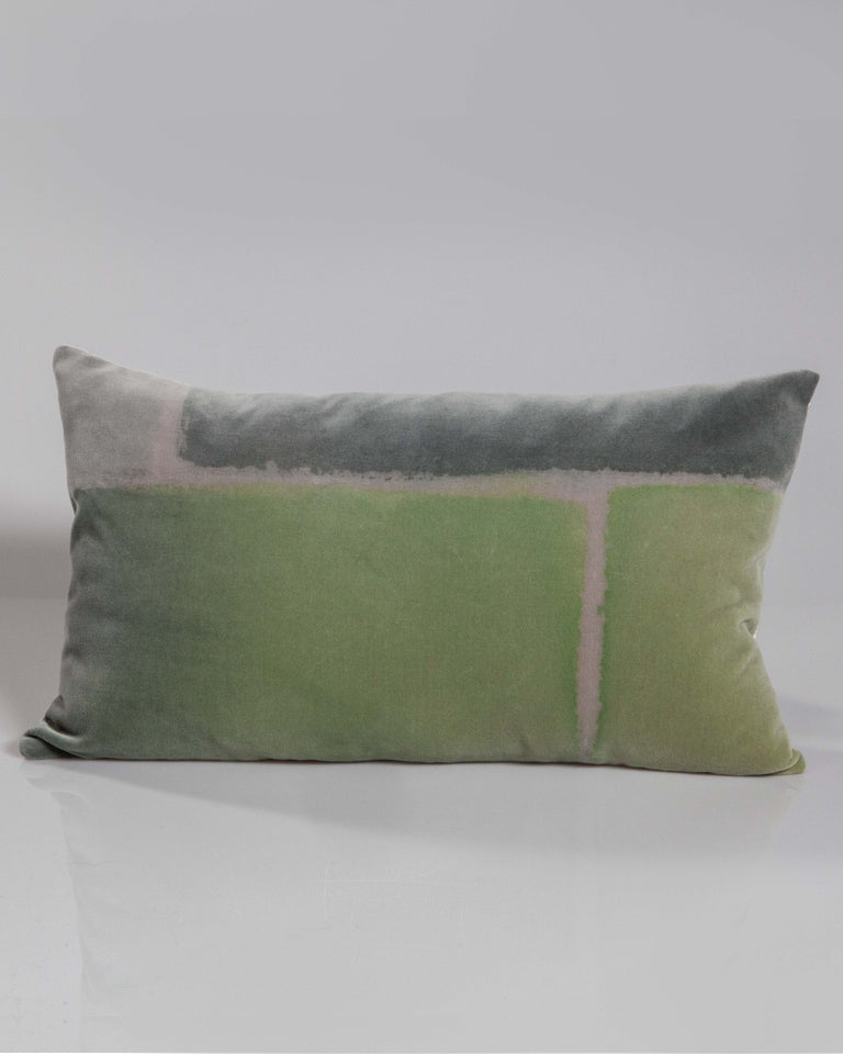 Hand-Painted Velvet Pillow - Greens