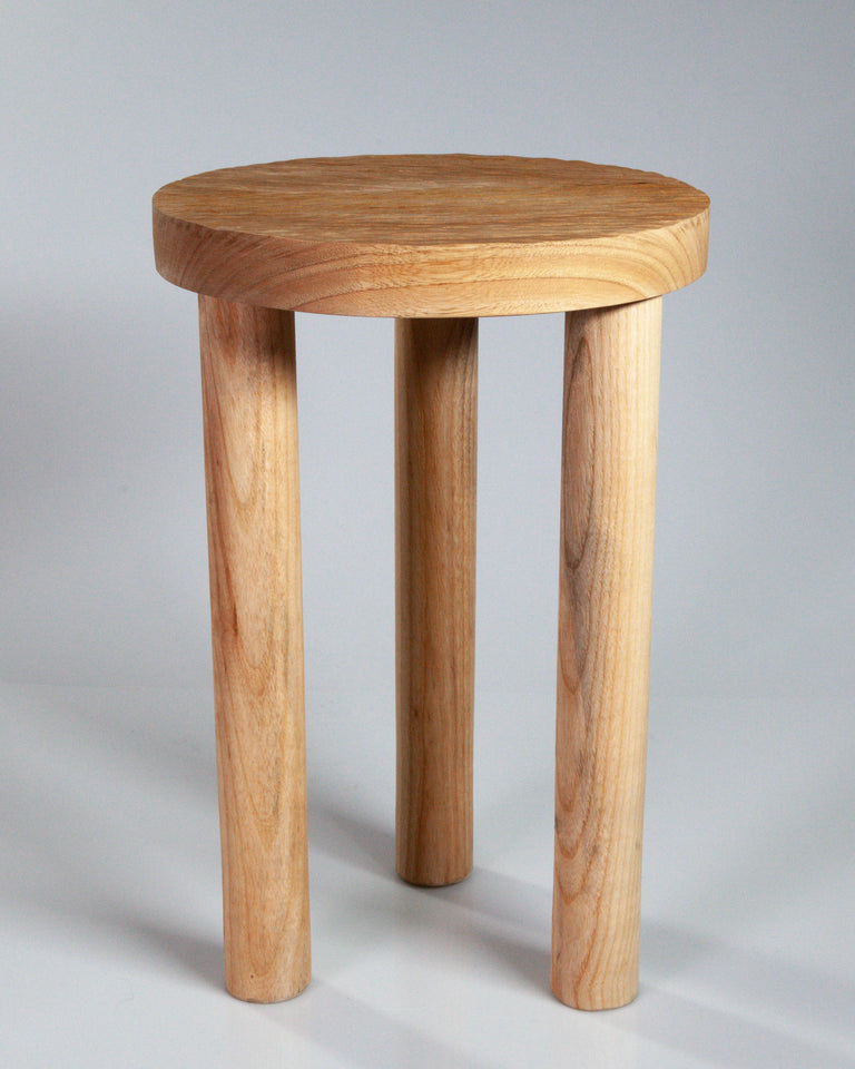 Casa Cubista Carved Wood Stool - Natural