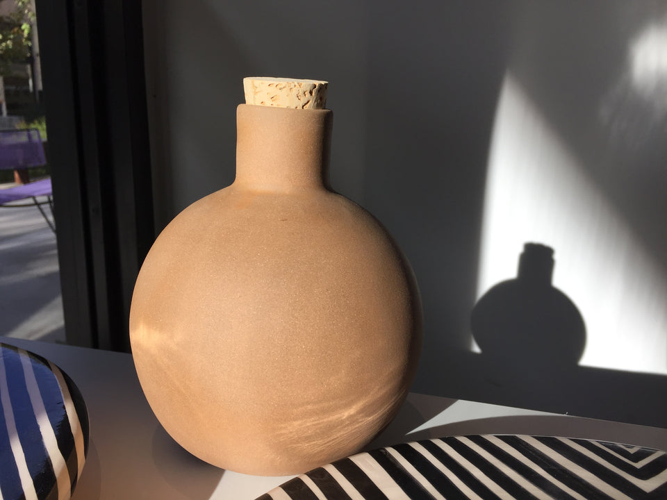 Handmade ceramic terracota carafe bottle with cork