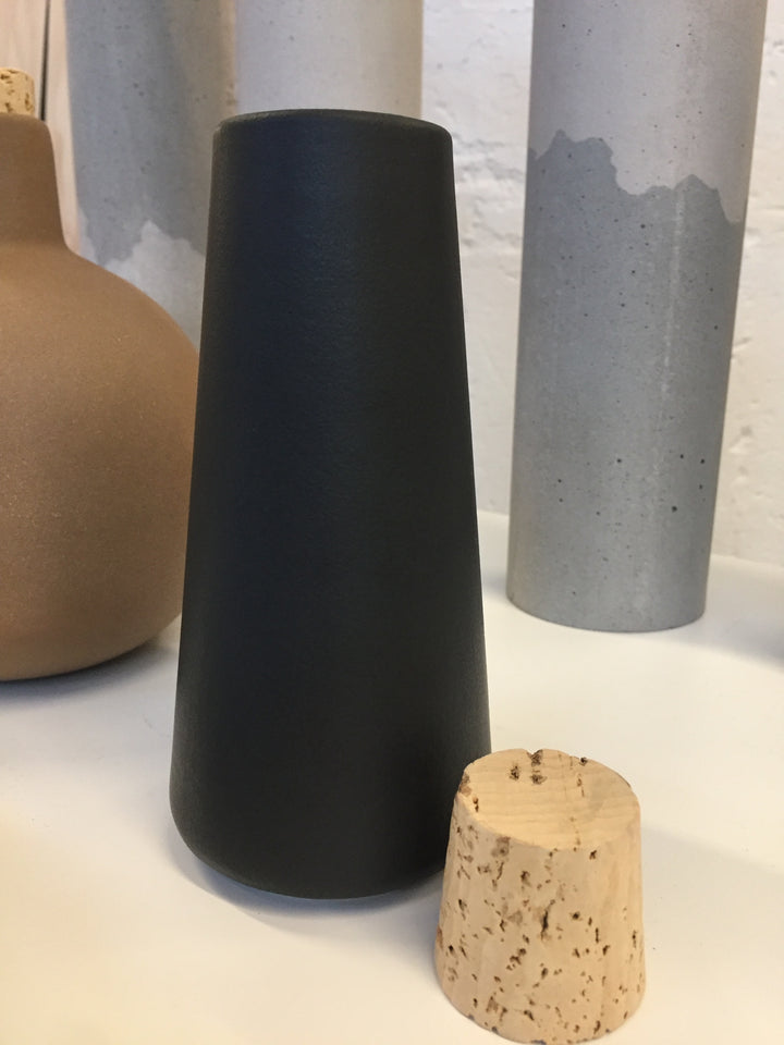 Handmade clay carafe container with cork black