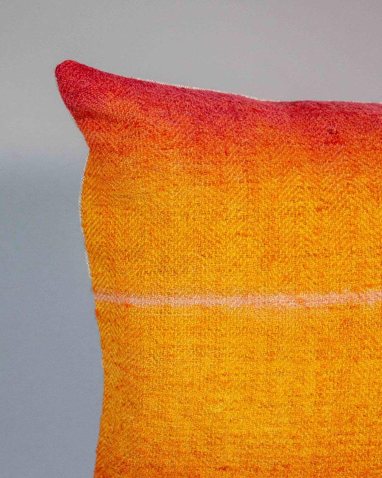 Hand-Painted Vintage Linen Pillow - Sunset