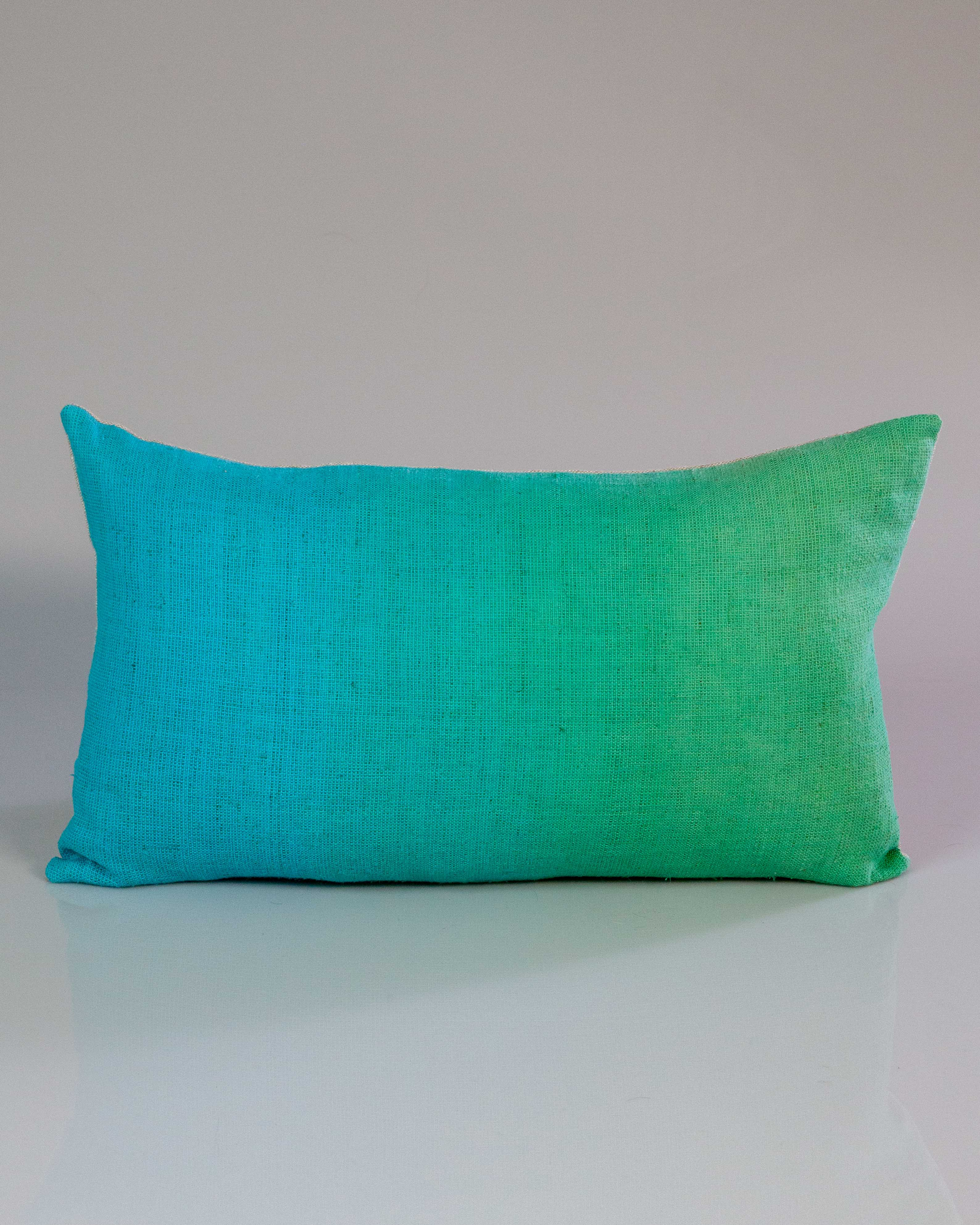Hand-Painted Vintage Linen Pillow - Summer Aqua