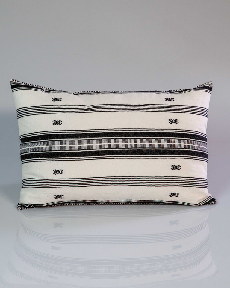 Hand woven Black and White Pillow w Brocade