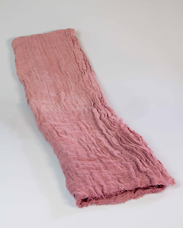 Hand-Painted Open-Weave Linen Throw - Pinks
