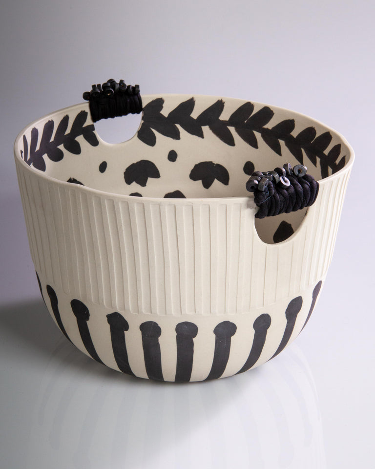 Black Flowered Basket