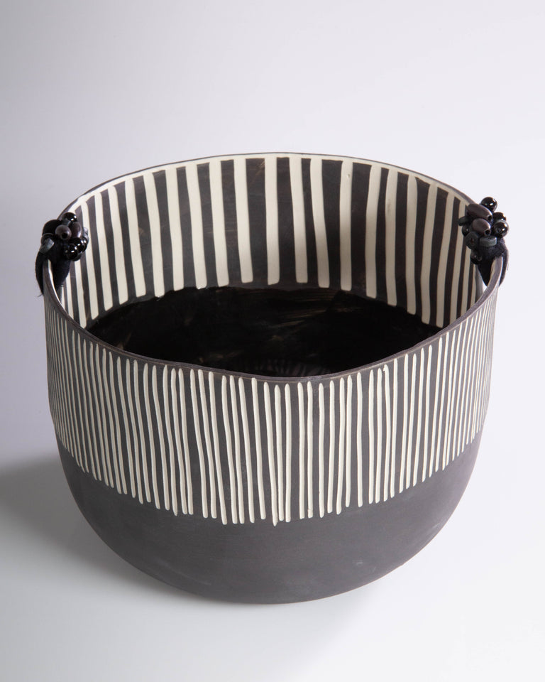 Black Striped Basket