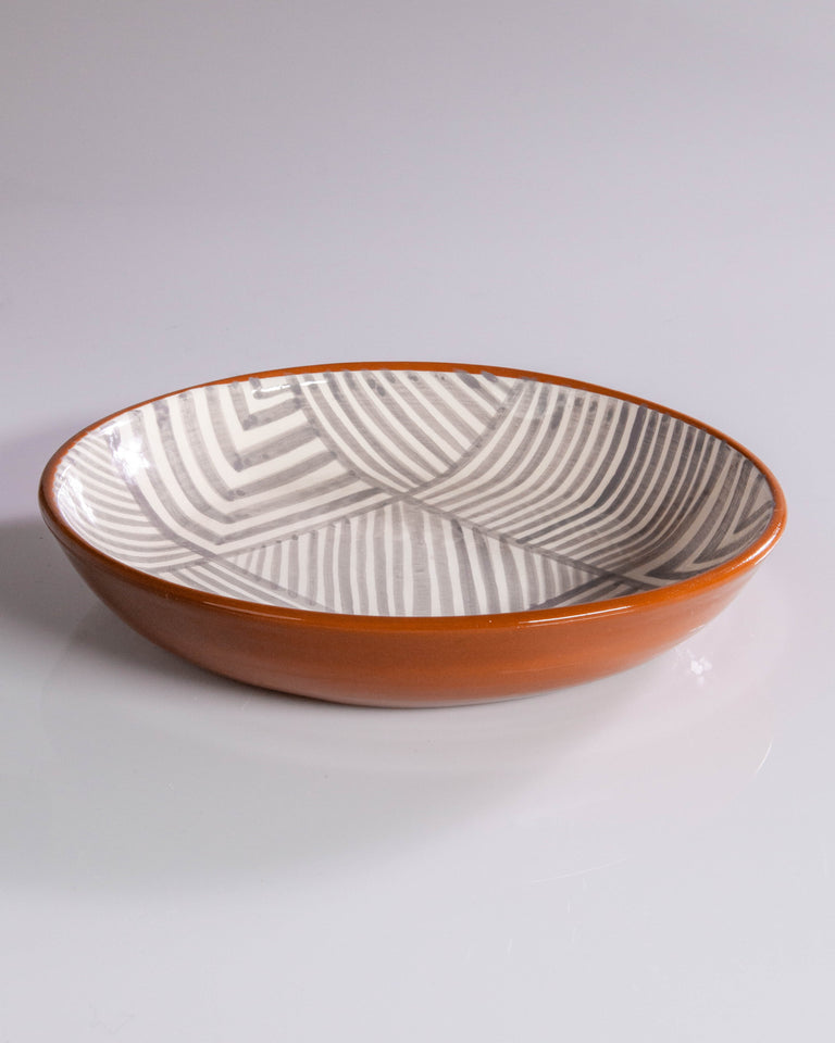 Ceramic bowl grey and white