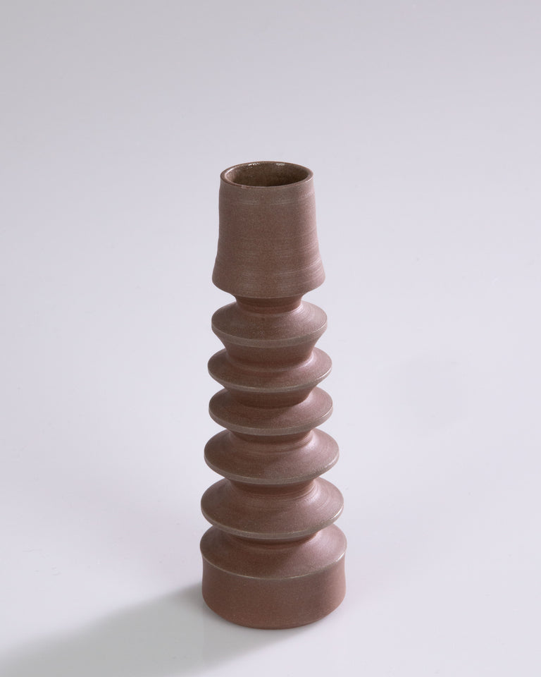 One-Of-a-Kind Ceramic Candle Holders - Brown