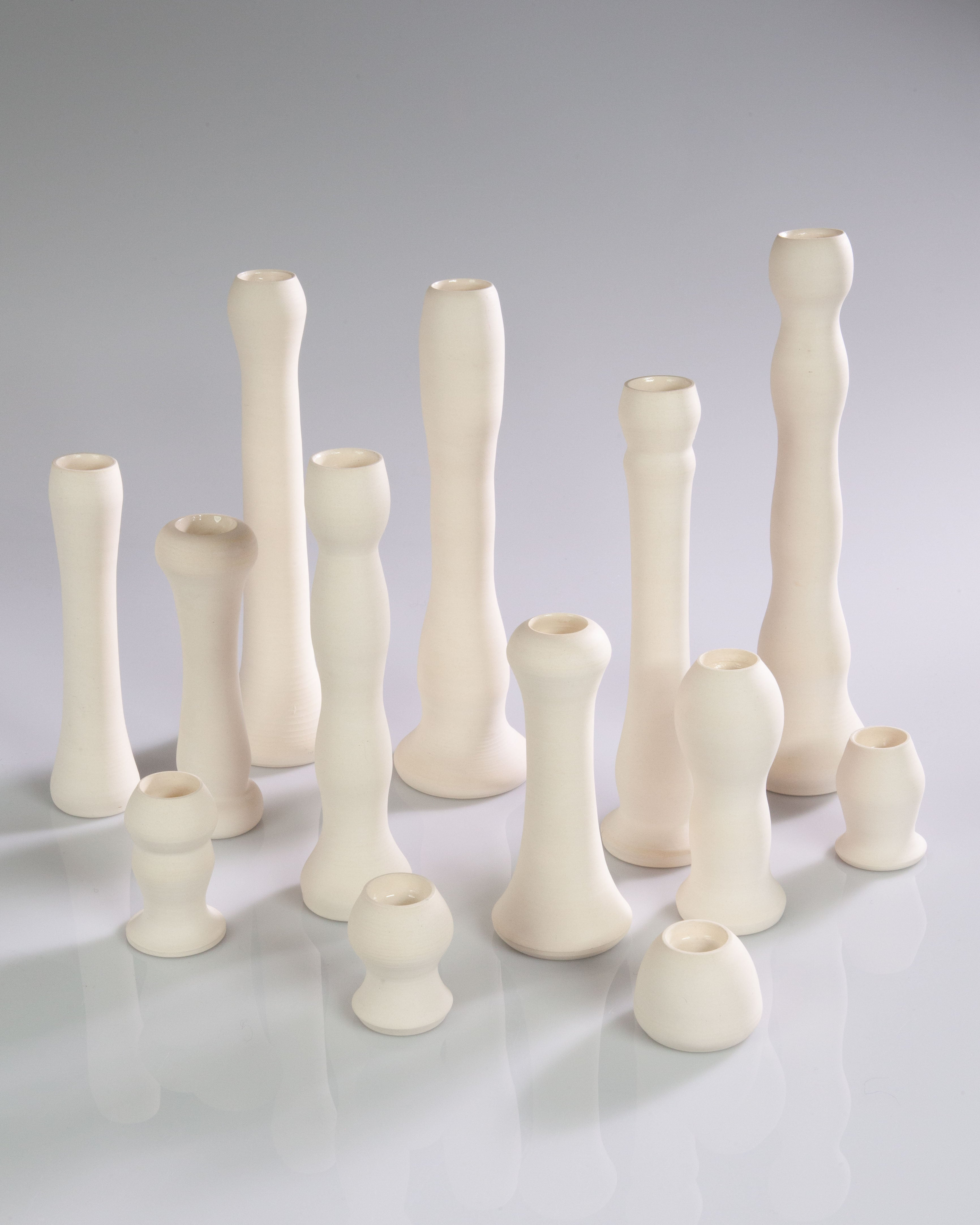 One-Of-a-Kind Ceramic Candle Holders - Ivory