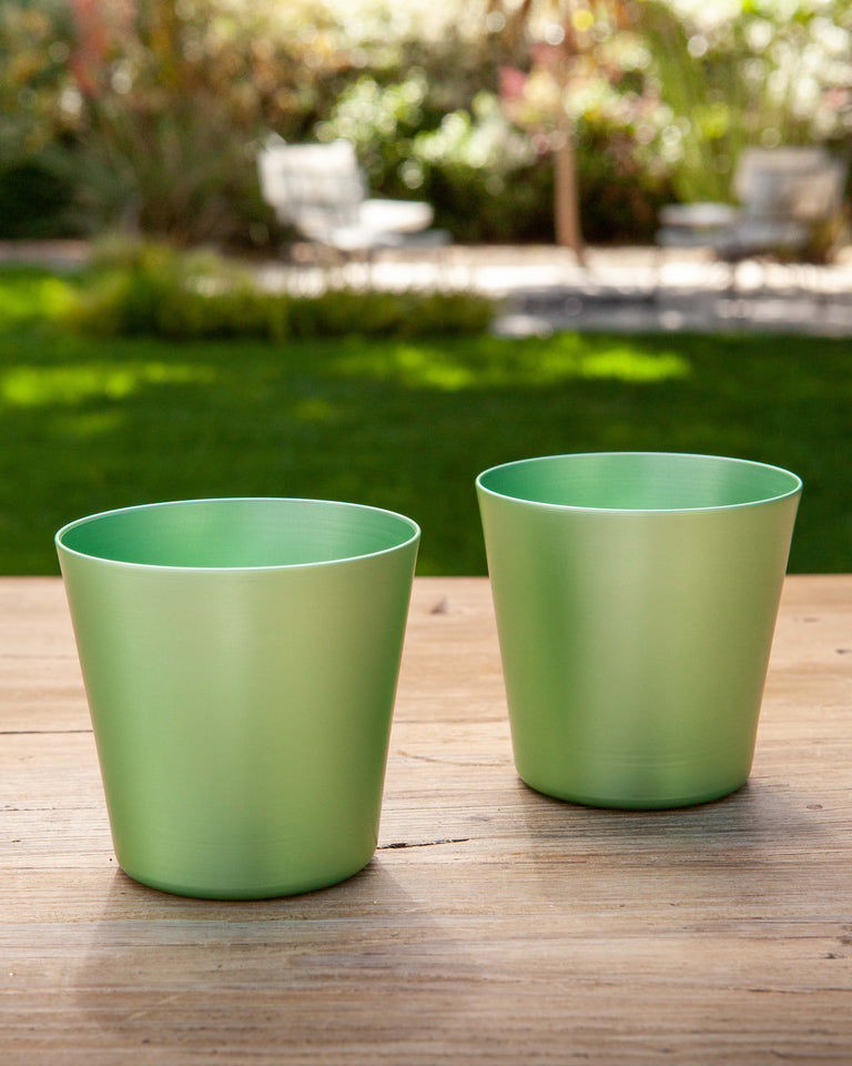 100% Re-cycled Anodized Aluminum Medium Tumbler - Pistachio, set of 2
