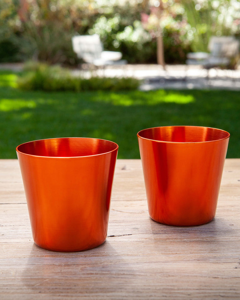 100% Re-cycled Anodized Aluminum Medium Tumbler - Orange, set of 2