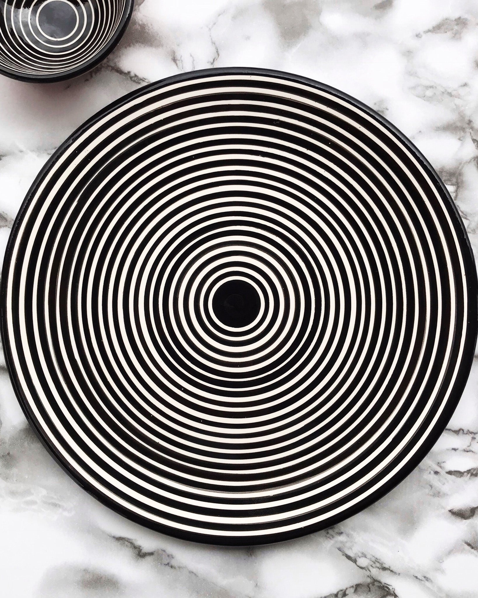 Handmade ceramic cheese board platter geometric pattern black and white B&W