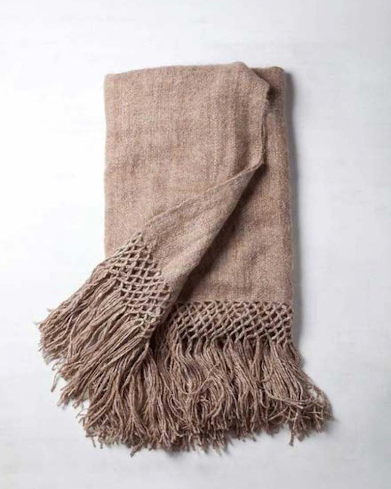 Handwoven llama wool throw camel brown