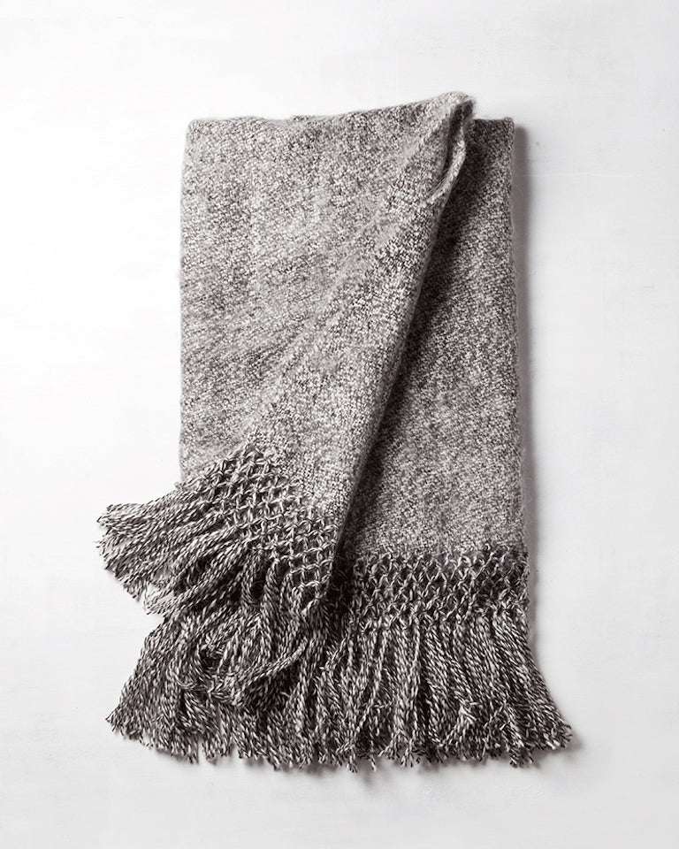 Handwoven llama wool throw grey