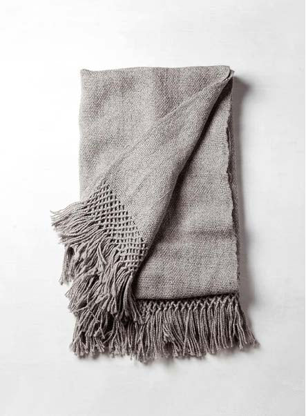 Handwoven llama wool throw silver grey