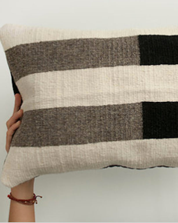 Handwoven wool pillow grey white and black