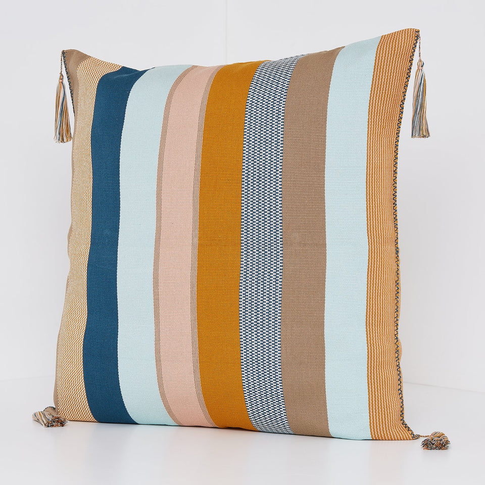 Handwoven cotton pillow grey and ochre yellow and blue stripes with tassels