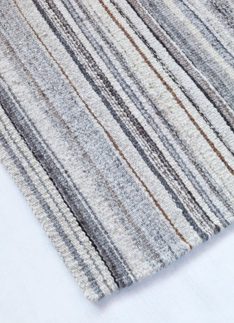 Handwoven undyed wool rug grey blend